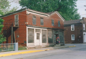 This image shows the original condition of the General Store right before being transferred to the Wayne County Historical Society of Ohio.