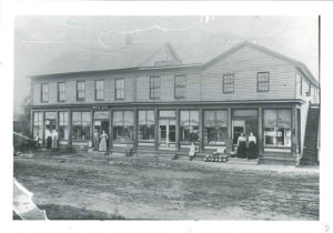 This image shows that there were originally three interconnected buildings that made up the general store when it stood in Fredericksburg, Ohio.