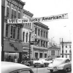 This banner hung across East Liberty Street in downtown Wooster to remind people to vote.
