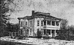 Old image of the Grady-Odenkirk House located at 910 E. Bowman St. on the NE corner of Lincoln and Bowman streets in Wooster, Ohio.