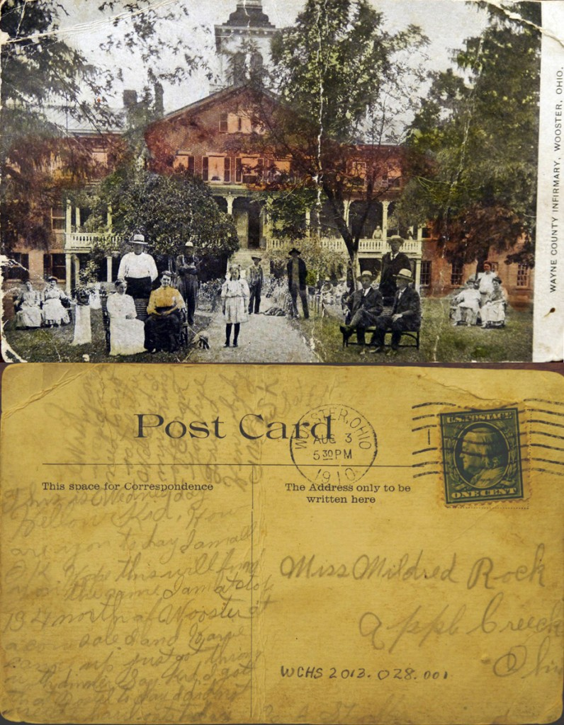 The front and back of a 1910 postcard showing the Wayne County Infirmary.