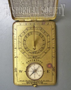 Image of Ansonia Clock Co. Sunwatch baseplate found at the Wayne County Historical Society.