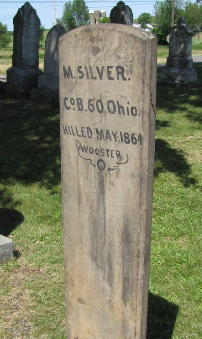 Wooden grave marker of Michael Silver, 1864.