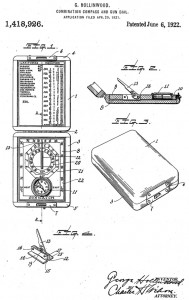 George Hollinwood's patent filed for the Sunwatch on Apr 20, 1921. Found in Google's Patent database.
