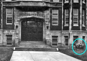 On the right side of this picture taken in 1937 of the front entrance to the old Wooster High School (now Cornerstone Elementary School) is the large rock the school board accepted as a gift from the class of 1917.