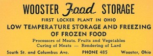 Ad from the 1952 Wooster City Directory for Wooster Food Storage located on the corner of S. Columbus Rd. and South St.