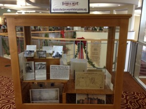 The display case on the second floor of the Wa. Co. Public Library is filled with small-format prints from the Digital Collection.
