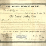 Mary Mougey completed the Ohio Pupils' Reading Course for the 1895-1896 school year and received this certificate from the Ohio Teachers' Reading Circle for completing all the publications listed on the certificate.