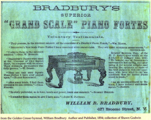 1854 Ad for the Bradbury Grand Scale Piano Forte. Courtesy of Shawn Godwin.