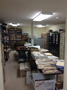 Interior of the Parker Documents Vault at the Wayne County Historical Society.
