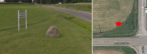 Google images show the Steele Cemetery sign and how the cemetery has been severely encroached upon.