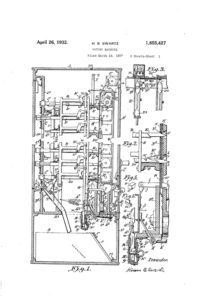 Hiram B. Swartz's 1932 voting machine patent can be found on patents.google.com